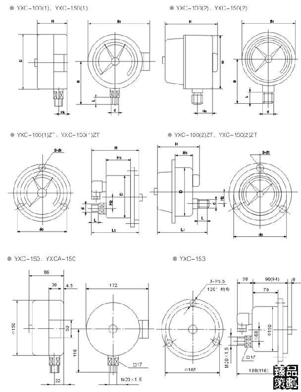 2、结构原理: 仪表由测量系统、指示装置、磁助电接点装置、外壳、调节装置及接线盒等组成。 当被测压力作用于弹簧管时,其末端产生相应的弹性变形—位移,经传动机构放大后,由指示装置在度盘上指示出来。同时指针带动电接点装置的活动触点与设定指针上的触头(上限或下限)相接触的瞬时,致使控制系统接通或断开电路,以达到自动控制和发信报警的目的。 在电接点装置的电接触信号针上,装有可调节的永久磁钢,可以增加接点吸力,加快接触动作,从而使触点接触可靠,消除电弧,能有效地避免仪表由于工作环境振动或介质压力脉动造成